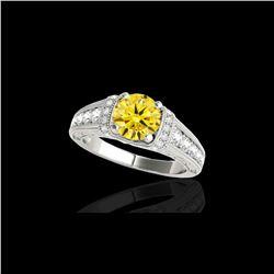 1.75 ctw Certified SI Intense Yellow Diamond Antique Ring 10K White Gold