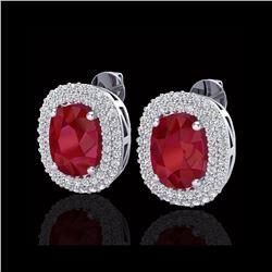 6.30 ctw Ruby & Micro Pave VS/SI Diamond Earrings 18K White Gold