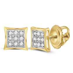 10kt Yellow Gold Round Diamond Square Kite Cluster Stud Earrings 1/20 Cttw