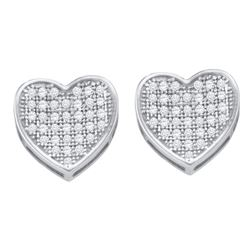 10kt White Gold Round Diamond Heart Cluster Earrings 1/4 Cttw