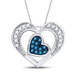 10kt White Gold Round Blue Color Enhanced Diamond Heart Pendant 1/12 Cttw