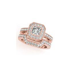 1.05 ctw Certified VS/SI Cushion Diamond 2pc Set Ring Halo 14K Rose Gold