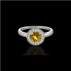 1.15 ctw Certified SI/I Fancy Intense Yellow Diamond Ring 10K White Gold