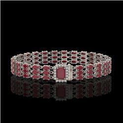 28.74 ctw Ruby & Diamond Bracelet 14K White Gold