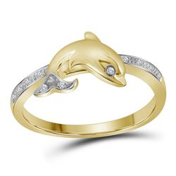 10kt Yellow Gold Round Diamond Slender Dolphin Animal Fish Ring 1/20 Cttw