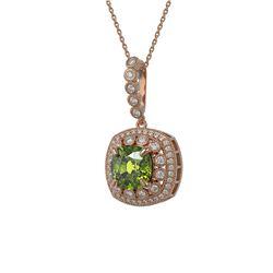 7.08 ctw Tourmaline & Diamond Victorian Necklace 14K Rose Gold