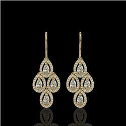 3.07 ctw Pear Cut Diamond Micro Pave Earrings 18K Yellow Gold