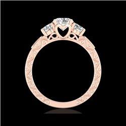 1.41 ctw VS/SI Diamond Solitaire Art Deco 3 Stone Ring 18K Rose Gold