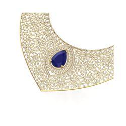 63.93 ctw Sapphire & VS Diamond Necklace 18K Yellow Gold