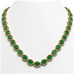 71.87 ctw Emerald & Diamond Micro Pave Halo Necklace 10K Yellow Gold