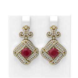 7.51 ctw Ruby & Diamond Earrings 18K Yellow Gold