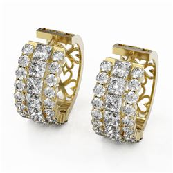 12.34 ctw Princess Cut Diamond Earrings 18K Yellow Gold