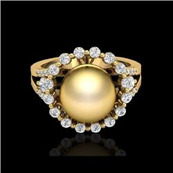.83 CT Micro Pave VS/SI Diamond And Golden Pearl Ring 18K Yellow Gold