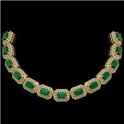 61.92 ctw Emerald & Diamond Victorian Bracelet 14K Yellow Gold