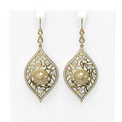 2.78 ctw Diamond and Pearl Earrings 18K Yellow Gold