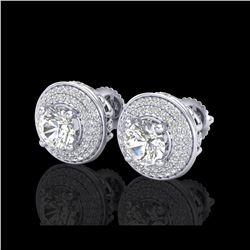 2.35 ctw VS/SI Diamond Solitaire Art Deco Stud Earrings 18K White Gold