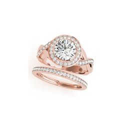 1.84 ctw Certified VS/SI Diamond 2pc Wedding Set Halo 14K Rose Gold