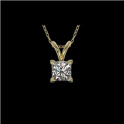 .50 ctw Certified VS/SI Quality Princess Diamond Necklace 10K Yellow Gold