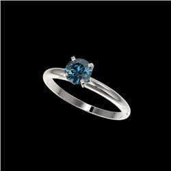 .75 ctw Certified Intense Blue Diamond Engagement Ring 10K White Gold