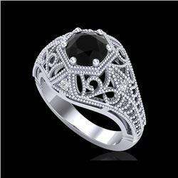 1.07 ctw Fancy Black Diamond Engagement Art Deco Ring 18K White Gold