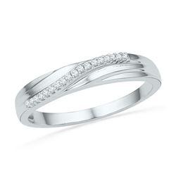 10kt White Gold Round Diamond Band Ring 1/20 Cttw