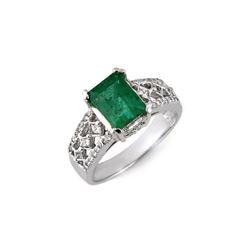 2.75 ctw Emerald & Diamond Ring 14K White Gold