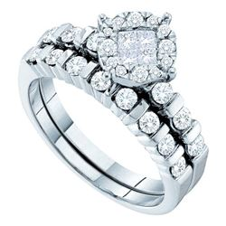 14kt White Gold Princess Diamond Bridal Wedding Engagement Ring Band Set 7/8 Cttw