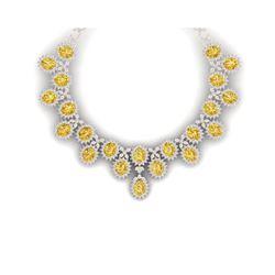 76 ctw Canary Citrine & VS Diamond Necklace 18K Rose Gold