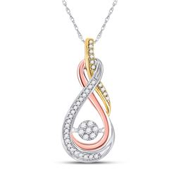 10kt Tri-Tone Gold Round Diamond Oval Moving Twinkle Pendant 1/6 Cttw