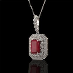 7.18 ctw Certified Ruby & Diamond Victorian Necklace 14K White Gold