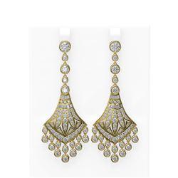 9.78 ctw Diamond Earrings 18K Yellow Gold