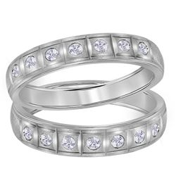 14kt White Gold His & Hers Round Diamond Matching Wedding Band Set 1/4 Cttw