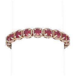 44.22 ctw Ruby & Diamond Bracelet 18K Rose Gold