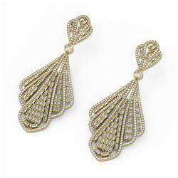 9.62 ctw Baguette Diamonds Designer Earrings 18K Yellow Gold