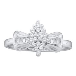 10kt White Gold Round Prong-set Diamond Oval Cluster Baguette Ring 1/10 Cttw