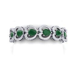 32.15 ctw Emerald & VS Diamond Bracelet 18K White Gold