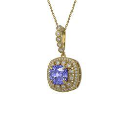 7.19 ctw Tanzanite & Diamond Victorian Necklace 14K Yellow Gold