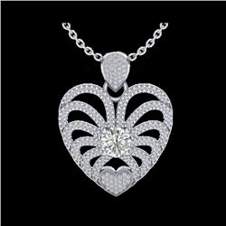3 ctw Micro Pave VS/SI Diamond Certified Heart Necklace 14K White Gold