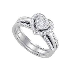 14kt White Gold Diamond Heart 3-Piece Bridal Wedding Engagement Ring Band Set 1/2 Cttw