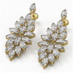 9 ctw Marquise Cut Diamond Designer Earrings 18K Yellow Gold