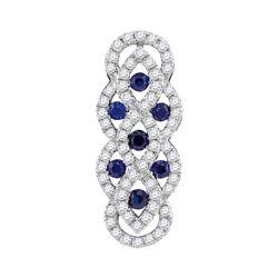 10kt White Gold Round Blue Sapphire Diamond Vertical Woven Fashion Pendant 1/2 Cttw