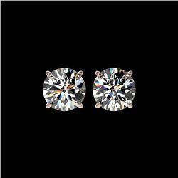 2.55 ctw Certified Quality Diamond Stud Earrings 10K Rose Gold