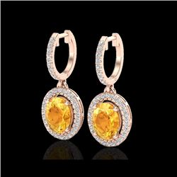 3.50 ctw Citrine & Micro Pave VS/SI Diamond Earrings 14K Rose Gold