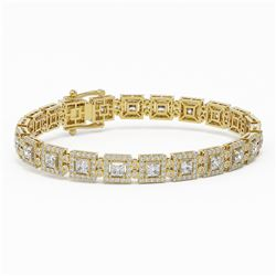12 ctw Princess Cut Diamond Designer Bracelet 18K Yellow Gold