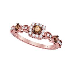 14kt Rose Gold Round Brown Diamond Solitaire Bridal Wedding Engagement Ring 1/2 Cttw