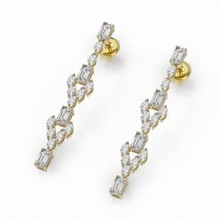 5.28 ctw Emerald Cut and Marquise Diamond Earrings 18K Yellow Gold