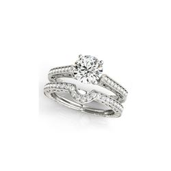 0.67 ctw Certified VS/SI Diamond 2pc Wedding Set Antique 14K White Gold