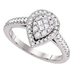 14kt White Gold Princess Diamond Cluster Bridal Wedding Engagement Ring 1/2 Cttw