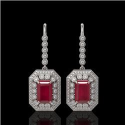 14.16 ctw Certified Ruby & Diamond Victorian Earrings 14K White Gold
