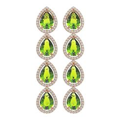 8.4 ctw Peridot & Diamond Micro Pave Halo Earrings 10K Rose Gold
